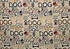 SNUGGLE FLANNEL BROWN DOG BONES BALLS PAWS on TAN100 Cotton Fabric NEW BTY