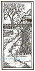 Autumn Fall Farm Scene Wood Mounted Rubber Stamp Northwoods J8687 New