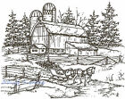 Winter Farm Sleigh Scene Wood Mounted Rubber Stamp Northwoods Stamp P1830 New