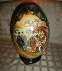 Oriental Satsuma Asian Geisha Large Hand painted Porcelain 12 in Tall Egg Number