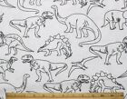 SNUGGLE FLANNEL BLACK DINOSAUR SKETCHES on WHITE 100 Cotton Fabric NEW BTY