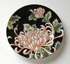 Fitz and Floyd Plate Kiku Chrysanthemum Flower Black Background Floral 406 peach