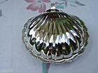 VINTAGE ANTIQUE SILVERPLATE BEAUTIFUL BRIGHT SMALL CLAM SHELL MILKGLASS LINER