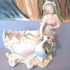 Antique Bisque Figural Planter Lady w/ Peacock Hand Painted Ornate #785 6