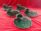 Leftons green Holly Leaf snack plate sets Cups (5) Christmas Holiday Dishes
