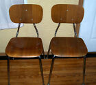 Vintage Pair of Danish Mid Century (1967) Modern Bent Wood Chairs w/ Chrome Legs