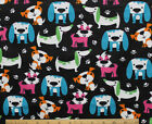SNUGGLE FLANNEL MULTI COLOR DOGS  PAWS on BLACKCotton FabricNEW BTY