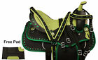 16 WESTERN BARREL RACING SADDLE PLEASURE TRAIL SHOW HORSE FREE TACK PAD GREEN