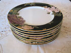 Fitz & Floyd Cloisonne Peony Black Japan 8 Bread and Butter Plates 1979
