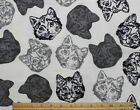 SNUGGLE FLANNEL BLACK CAT FACE on WHITE 100 Cotton Fabric 1 yard 8