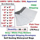 Pick Your Combo 75 5025 Poly Mailers Shipping Envelopes Plastic Mailing Bags