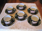 Fitz & Floyd Cloisonne Peony Black Japan 6 Cups and Saucers 1979