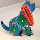 HAND-PAINTED BLUE DOG WOOD CARVING (ALEBRIJE) -OAXACA, MEXICO