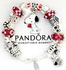 Authentic PANDORA Silver Charm Bracelet European Charms Red White Snoopy Dog New