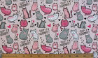 SNUGGLE FLANNEL I LOVE CAT NAPS  SLEEP is PURRRRRFECT on PINK 100 Cotton BTY