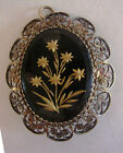 Vintage Victorian 800 Silver Filigree Flowers Pendant Brooch/Pin ~Signed 800