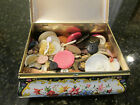 Vintage Pretty Flower Floral Tin or Sewing Box (Made In Holland) Full of Buttons