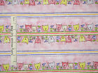 Paw Print Fabric - Happy Catz Pink Kitty Cat Stripe Red Rooster #25595 - Yard