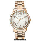 NEW GUESS WATCH for Women Rose Gold Tone Oversized White Dial w/Crystals U0329L3
