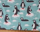 SNUGGLE FLANNEL  PENGUINS on ICE in TEAL WATER 100 Cotton Fabric NEW  BTY