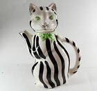 Vintage Gloria Vanderbilt Tastesetter Sigma Cat black and white striped Teapot