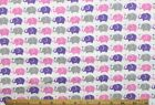 SNUGGLE FLANNELPINKLAVENDERGRAY ELEPHANTS on WHITE 100 Cotton Fabric BTY