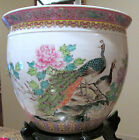 OOAK!! CHINESE PORCELAIN FISH BOWL OR PLANTER FEATURING PEACOCKS