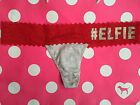 Victorias Secret Christmas Elfie Thong Glitter Bling Lace Red Gray XS M
