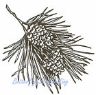 Double Pine Cone PINECONE Branch Wood Mounted Rubber Stamp NORTHWOODS F1933 New
