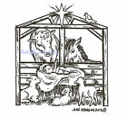 Christmas Nativity Animals Wood Mounted Rubber Stamp NORTHWOODS NEW F9256