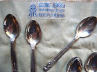 Georg Jensen Silver Set of Six Acorn Coffee Spoons with Original Cloth Holder