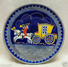 Blue Vintage Decor Plate w. Man on Horse Pulling Carriage Design (W. Germany)