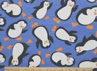 SNUGGLE FLANNEL  HAPPY DANCING PENGUINS on BLUE 100 Cotton Fabric NEW  BTY