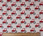 SNUGGLE FLANNEL RED TRACTORS on CREAM 100 Cotton NEW BTY