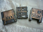 VTG ANTIQUE WOODEN BLOCK INK STAMP 3 OLD STOVES PRINTING STAMP NEWSPAPER