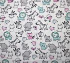 SNUGGLE FLANNEL  BABY ANIMALS  PINK  AQUA on WHITE 100 Cotton Fabric NEW BTY