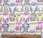 SNUGGLE FLANNEL PINK YELLOW GRAY CHUBBY CATS on WHITE 100 Cotton Fabric BTY