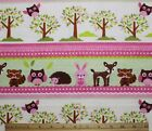 SNUGGLE FLANNEL BABY FOREST ANIMALS  WHITE PINK100 Cotton Fabric NEW BTY