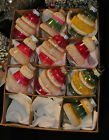 WW2 Shiny Brite 10 VTG 2 USA Glass Xmas Ornaments Stripes Bells