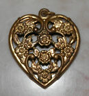 Vintage Victorian Floral Filigree Hollow Puffy Heart Brass Pendant Charm Perfume