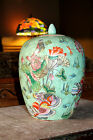 SIGNED Vintage ASIAN Chinese | Celadon MELON JAR | MANDARIN DUCK Yuan-yang RARE