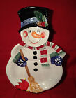 Fitz & Floyd Festive Snowman Chip & Dip Large Platter Snack Therapy Pattern 2004