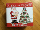 Fitz & Floyd Salt & Pepper Shakers NEW Santa w Puppy Christmas Tree