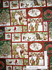 Christmas Fabric - Santa Wildlife Scenes Collage #25576 SPX Old World - Yard