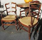 Antique Pair French Country Dining Arm Chairs Louis XV Rush Seats w/ Stretchers
