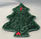 VINTAGE Lefton - 1970s - Christmas Tree Shape Red Berry Holly Serving Plate Dish