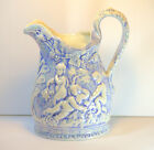 Handmade Ceramic Blue White Pitcher with cherubs and grapevines marked J. Smith