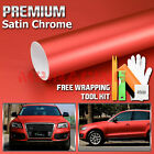 Satin Chrome Red Matte Metallic Vinyl Wrap Sticker Decal Sheet Film Bubble Free