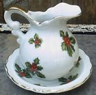 Lefton Christmas Holly and Berry Cream Pitcher w Underplate Hand Painted