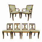 6 Antique French Regency Neoclassical Style Carved Klismos Dining Chairs Vintage